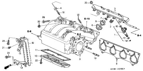 2004 civic SI 3 DOOR 5MT INTAKE MANIFOLD diagram