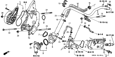 2003 civic SI(SIDE SRS) 3 DOOR 5MT WATER PUMP - SENSOR diagram