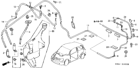 2003 civic SI(SIDE SRS) 3 DOOR 5MT WINDSHIELD WASHER (1) diagram