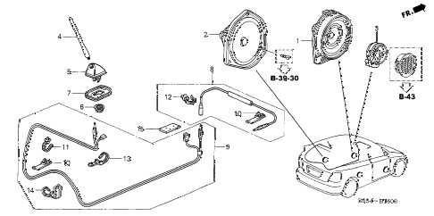 2003 civic SI(SIDE SRS) 3 DOOR 5MT ANTENNA - SPEAKER diagram