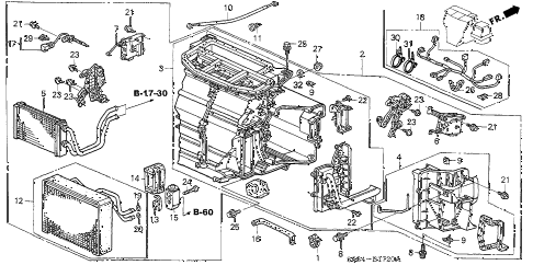 2002 civic SI 3 DOOR 5MT HEATER UNIT diagram
