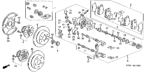 2003 civic SI 3 DOOR 5MT REAR BRAKE (DISK) diagram