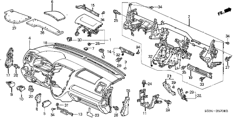 2004 civic SI 3 DOOR 5MT INSTRUMENT PANEL diagram