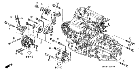 2004 civic SI 3 DOOR 5MT ENGINE MOUNTING BRACKET diagram