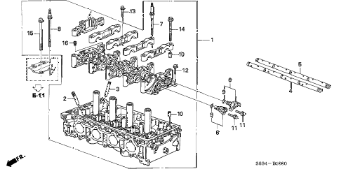 2003 civic SI 3 DOOR 5MT CYLINDER HEAD diagram