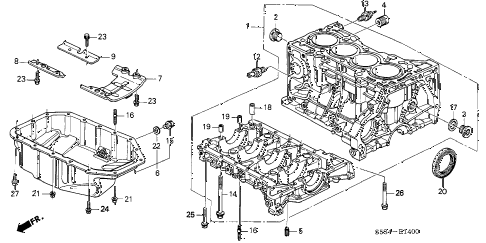 2003 civic SI 3 DOOR 5MT CYLINDER BLOCK - OIL PAN diagram
