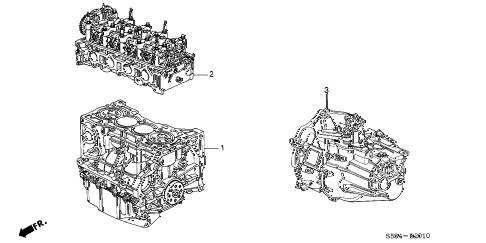 2004 civic SI 3 DOOR 5MT ENGINE ASSY. - TRANSMISSION ASSY. diagram