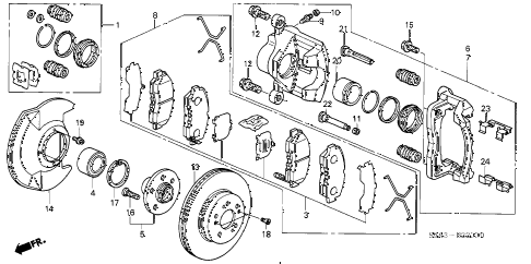 2003 cr-v LX(4WD SIDE SRS) 5 DOOR 5MT FRONT BRAKE diagram