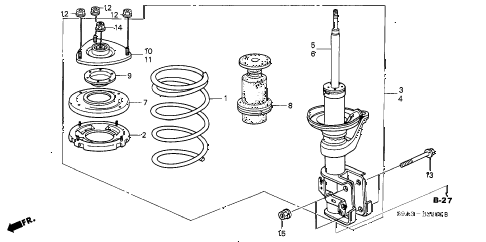 2004 cr-v LX(4WD) 5 DOOR 5MT FRONT SHOCK ABSORBER diagram