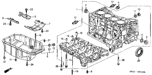 2003 cr-v LX(2WD) 5 DOOR 4AT CYLINDER BLOCK - OIL PAN diagram