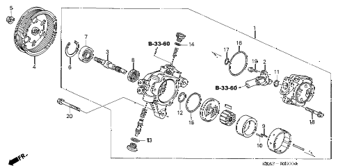 2004 cr-v EX(4WD) 5 DOOR 5MT P.S. PUMP diagram