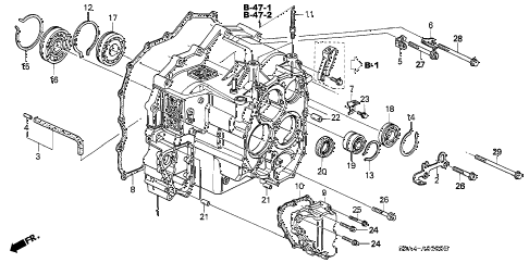2003 cr-v LX(2WD) 5 DOOR 4AT AT TRANSMISSION CASE diagram
