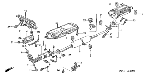 2002 cr-v LX(2WD) 5 DOOR 4AT EXHAUST PIPE - MUFFLER diagram