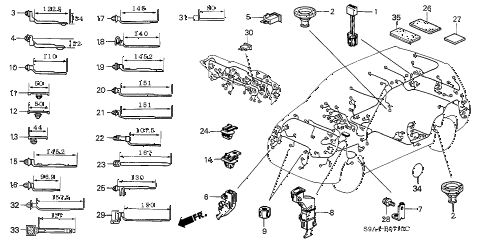 2004 cr-v LX(4WD) 5 DOOR 5MT HARNESS BAND - BRACKET diagram