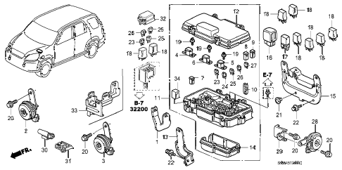 2002 cr-v EX(4WD) 5 DOOR 5MT CONTROL UNIT (ENGINE ROOM) diagram