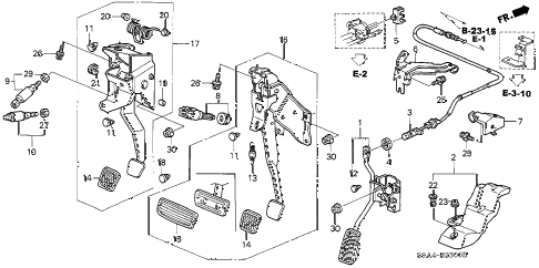 2004 cr-v EX(4WD) 5 DOOR 5MT PEDAL diagram
