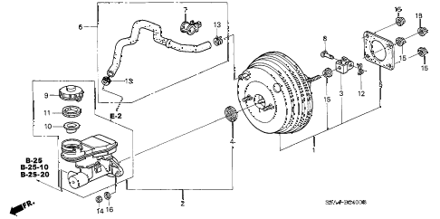 2002 cr-v EX(4WD) 5 DOOR 5MT BRAKE MASTER CYLINDER  - MASTER POWER (1) diagram