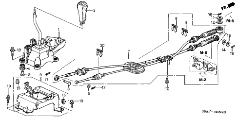2004 cr-v LX(4WD SIDE SRS) 5 DOOR 5MT SHIFT LEVER diagram