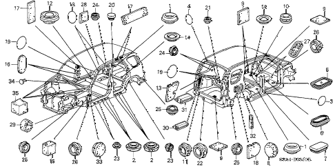 2002 cr-v EX(4WD) 5 DOOR 5MT GROMMET diagram
