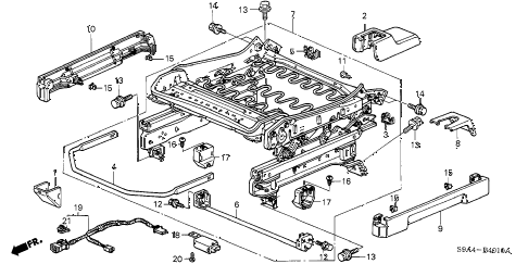 2002 cr-v LX(2WD) 5 DOOR 4AT FRONT SEAT COMPONENTS (L.) (1) diagram