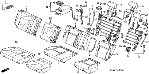 2004 cr-v EX(4WD) 5 DOOR 5MT REAR SEAT diagram