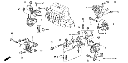 2004 cr-v LX(4WD SIDE SRS) 5 DOOR 5MT ENGINE MOUNTS (MT) diagram