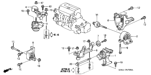 2003 cr-v LX(2WD) 5 DOOR 4AT ENGINE MOUNTS (AT) (2WD) diagram
