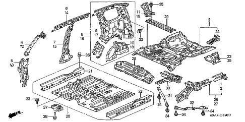 2002 cr-v LX(2WD) 5 DOOR 4AT FLOOR - INNER PANEL diagram
