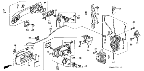 2002 cr-v LX(2WD) 5 DOOR 4AT FRONT DOOR LOCKS - OUTER HANDLE (2) diagram