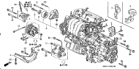 2003 cr-v LX(2WD) 5 DOOR 4AT ENGINE MOUNTING BRACKET diagram