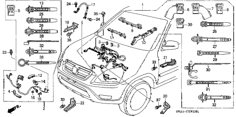 2002 cr-v EX(4WD) 5 DOOR 5MT ENGINE WIRE HARNESS diagram