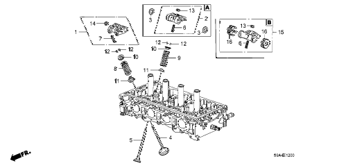 2004 cr-v LX(4WD SIDE SRS) 5 DOOR 5MT VALVE - ROCKER ARM diagram