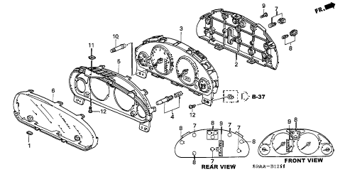 2006 cr-v EX(2WD) 5 DOOR 5AT METER COMPONENTS (VISTEON) diagram
