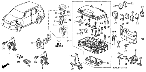 2006 cr-v EX(2WD) 5 DOOR 5AT CONTROL UNIT (ENGINE ROOM) diagram