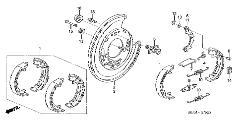 2006 cr-v EX(2WD) 5 DOOR 5AT PARKING BRAKE SHOE diagram