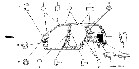 2006 cr-v EX(2WD) 5 DOOR 5AT GROMMET (SIDE) diagram