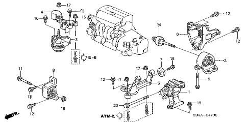 2006 cr-v EX(2WD) 5 DOOR 5AT ENGINE MOUNTS (AT) (2WD) diagram