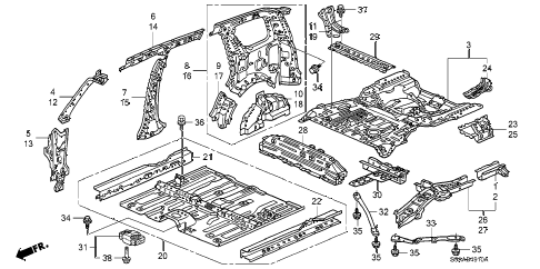 2006 cr-v EX(2WD) 5 DOOR 5AT FLOOR - INNER PANEL diagram