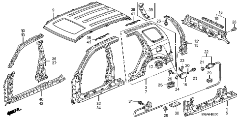 2006 cr-v EX(2WD) 5 DOOR 5AT OUTER PANEL - ROOF PANEL (PLASMA STYLE PANEL) diagram