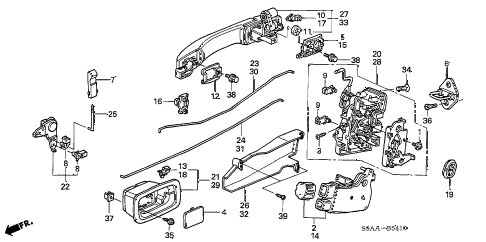 2006 cr-v EX(2WD) 5 DOOR 5AT REAR DOOR LOCKS - OUTER HANDLE (1) diagram