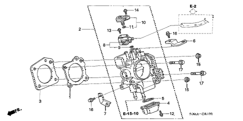 2006 cr-v EX(2WD) 5 DOOR 5AT THROTTLE BODY diagram