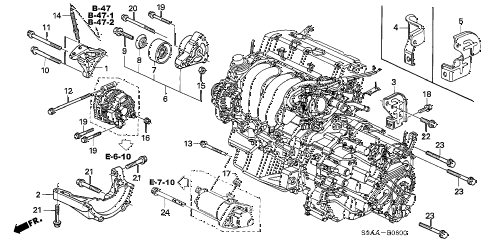 2006 cr-v EX(2WD) 5 DOOR 5AT ENGINE MOUNTING BRACKET diagram