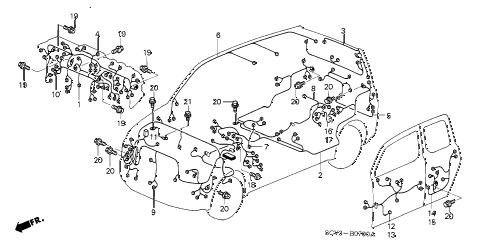 2005 element EX(2WD,SD AIR BAG 5 DOOR 5MT WIRE HARNESS diagram