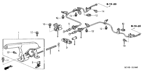 2004 element DX(2WD) 5 DOOR 4AT PARKING BRAKE diagram