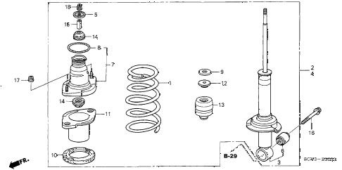 2004 element EX(2WD,SD AIR BAG 5 DOOR 5MT REAR SHOCK ABSORBER diagram