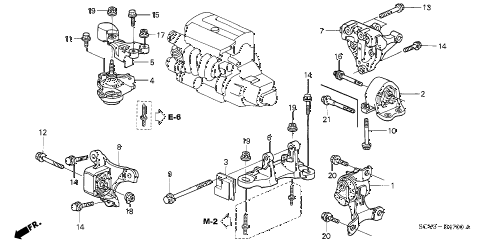 2004 element EX(4WD,SD A/B) 5 DOOR 5MT ENGINE MOUNTS (MT) diagram