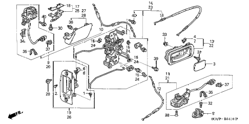 2003 element EX(2WD,SD AIR BAG 5 DOOR 5MT REAR ACCESS PANEL LOCKS  - OUTER HANDLE diagram