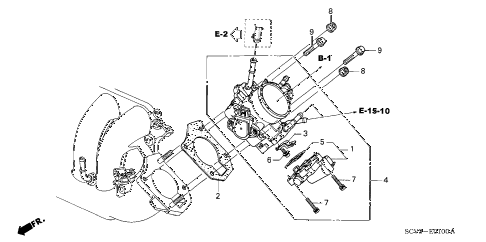 2006 element EX-P(2WD,SD AIR BAG 5 DOOR 5MT THROTTLE BODY diagram