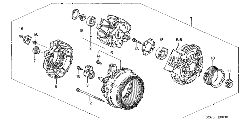 2005 element EX(2WD,SD AIR BAG 5 DOOR 5MT ALTERNATOR (DENSO) diagram