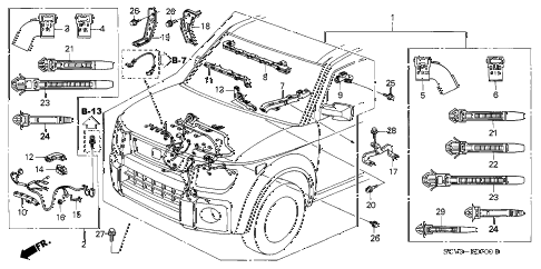 2005 element EX(2WD,SD AIR BAG 5 DOOR 5MT ENGINE WIRE HARNESS diagram
